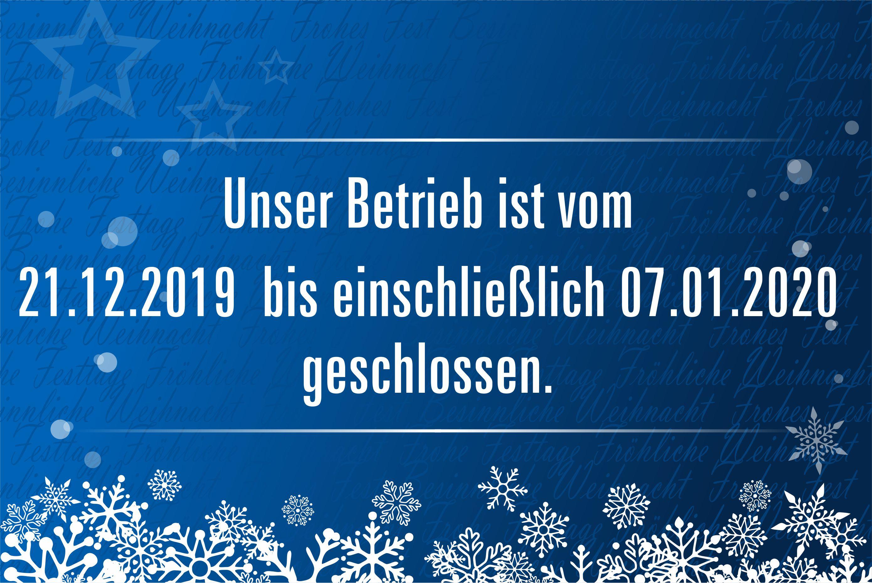 Weihnachtsurlaub 2019